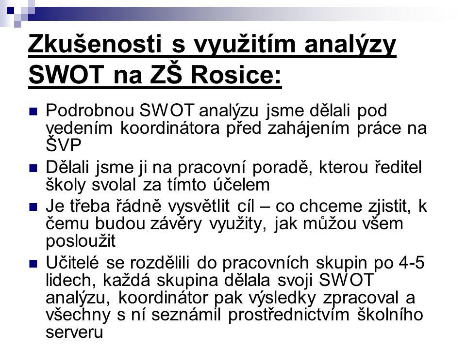 Zkušenosti s využitím analýzy SWOT na ZŠ Rosice: