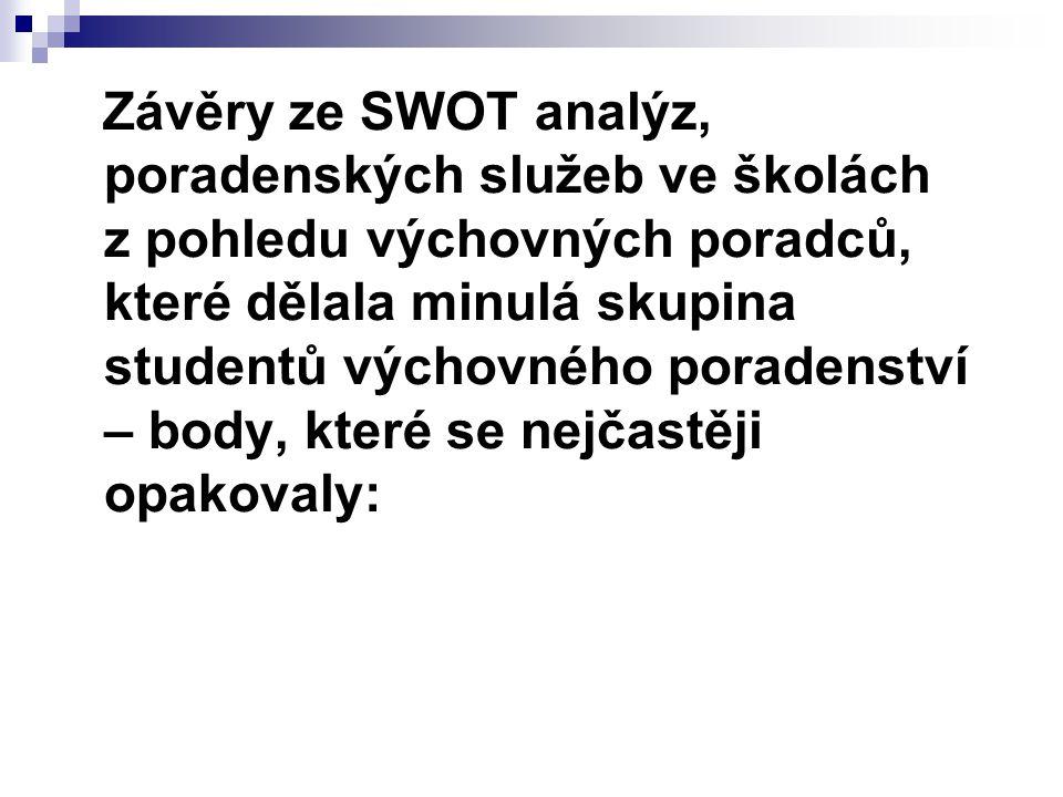 Závěry ze SWOT analýz, poradenských služeb ve školách z pohledu výchovných poradců, které dělala minulá skupina studentů výchovného poradenství – body, které se nejčastěji opakovaly: