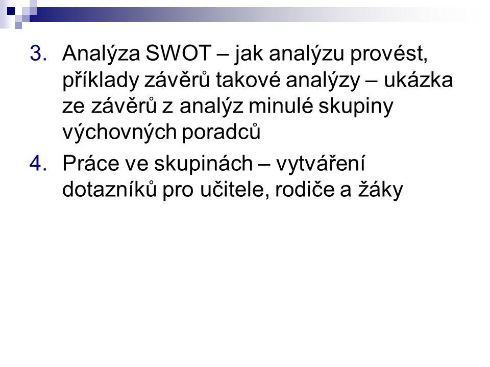Analýza SWOT – jak analýzu provést, příklady závěrů takové analýzy – ukázka ze závěrů z analýz minulé skupiny výchovných poradců