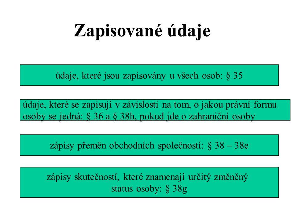 Zapisované údaje údaje, které jsou zapisovány u všech osob: § 35
