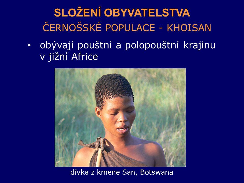 dívka z kmene San, Botswana
