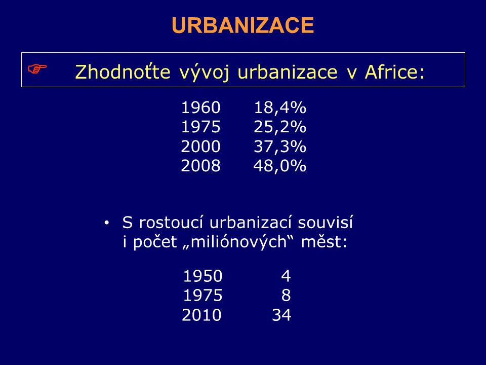  Zhodnoťte vývoj urbanizace v Africe: