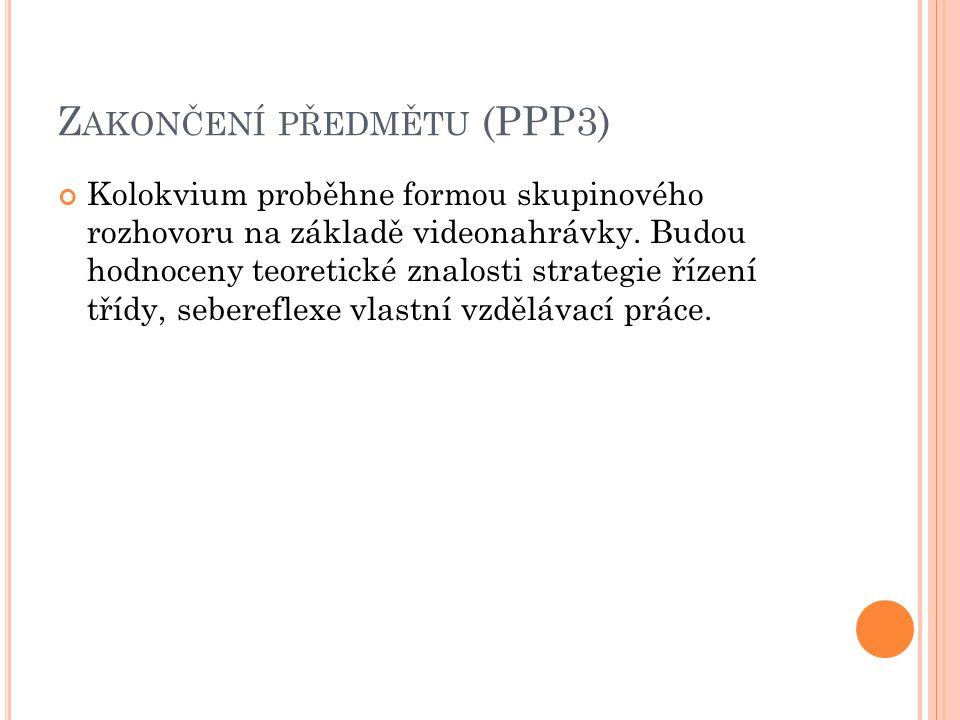 Zakončení předmětu (PPP3)