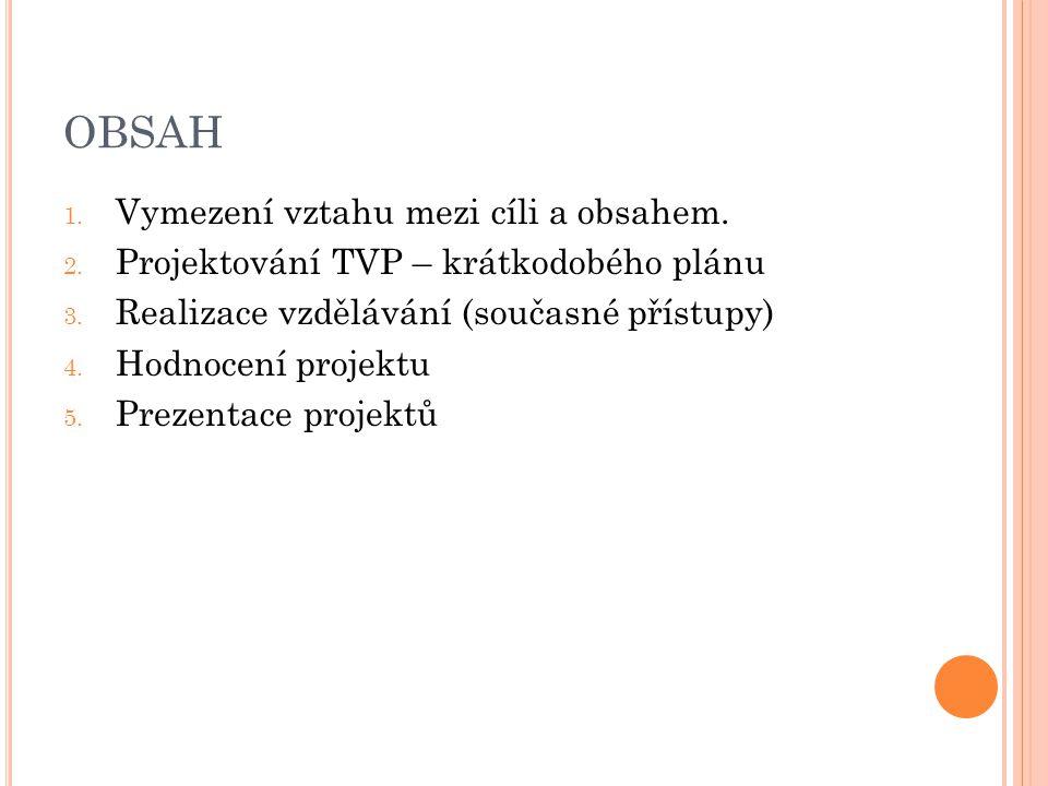 OBSAH Vymezení vztahu mezi cíli a obsahem.