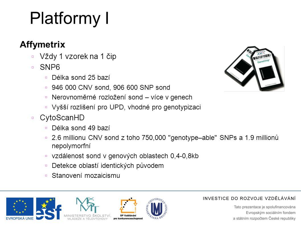 Platformy I Affymetrix Vždy 1 vzorek na 1 čip SNP6 CytoScanHD