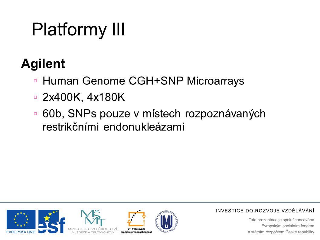 Platformy III Agilent Human Genome CGH+SNP Microarrays 2x400K, 4x180K