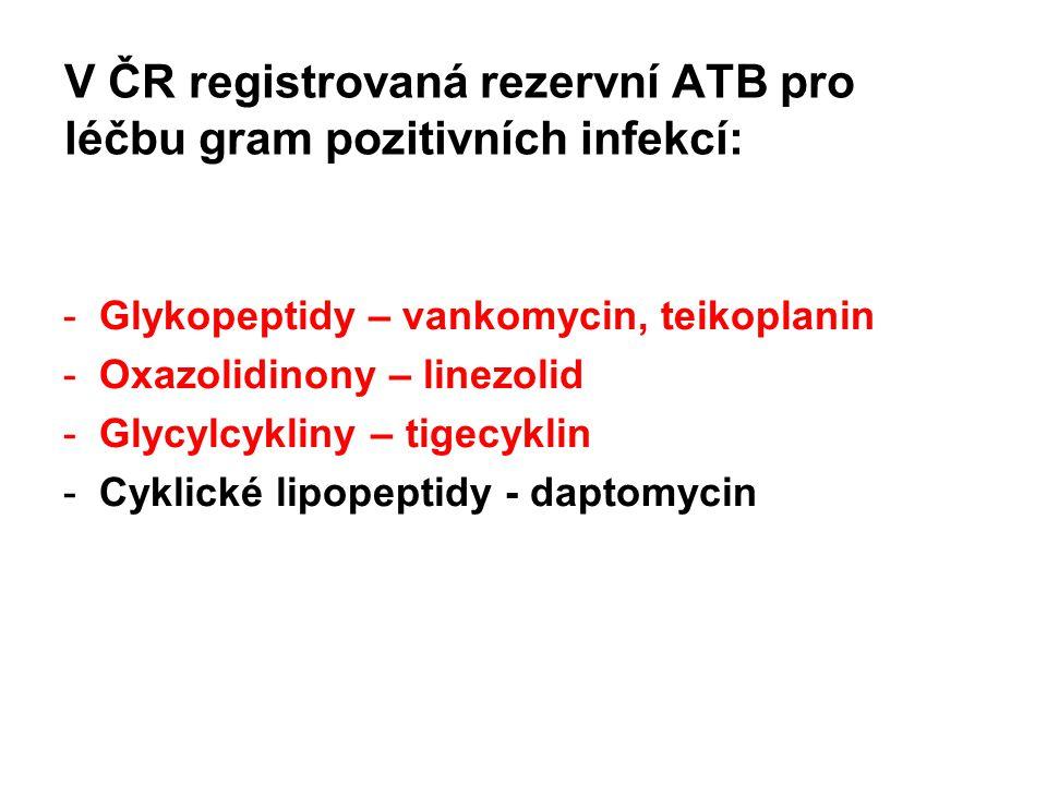 V ČR registrovaná rezervní ATB pro léčbu gram pozitivních infekcí: