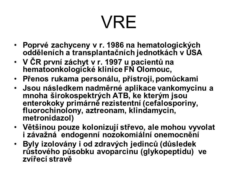 VRE Poprvé zachyceny v r. 1986 na hematologických odděleních a transplantačních jednotkách v USA.