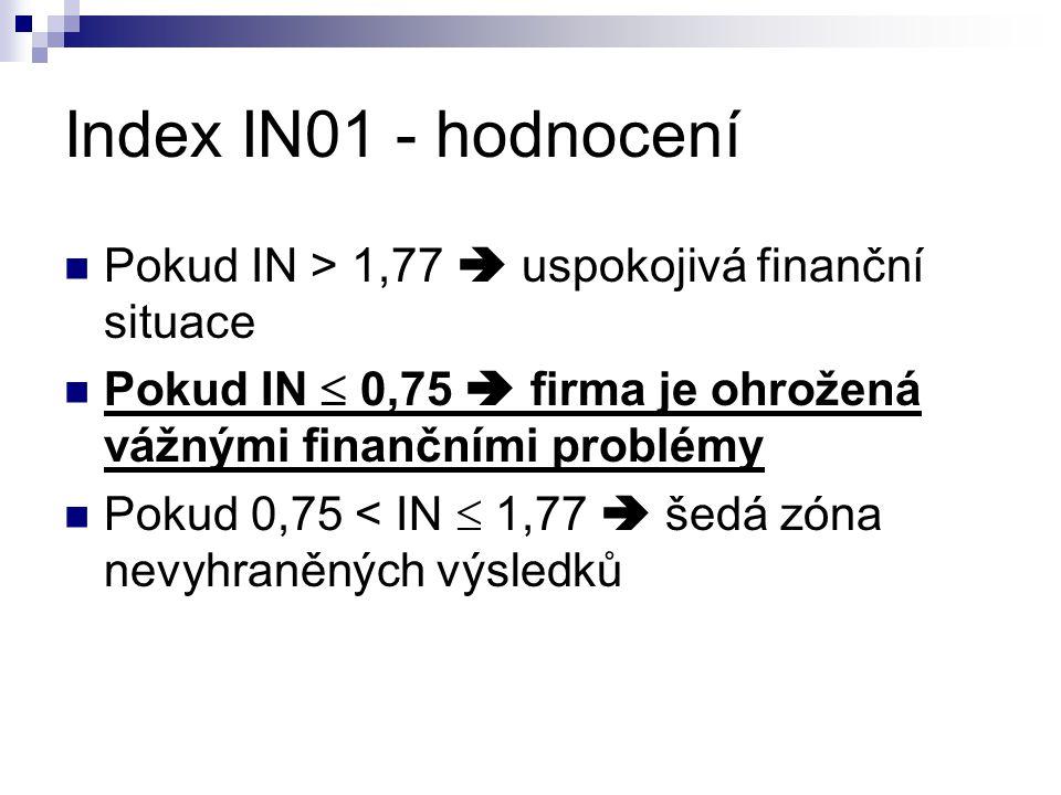 Index IN01 - hodnocení Pokud IN > 1,77  uspokojivá finanční situace. Pokud IN  0,75  firma je ohrožená vážnými finančními problémy.
