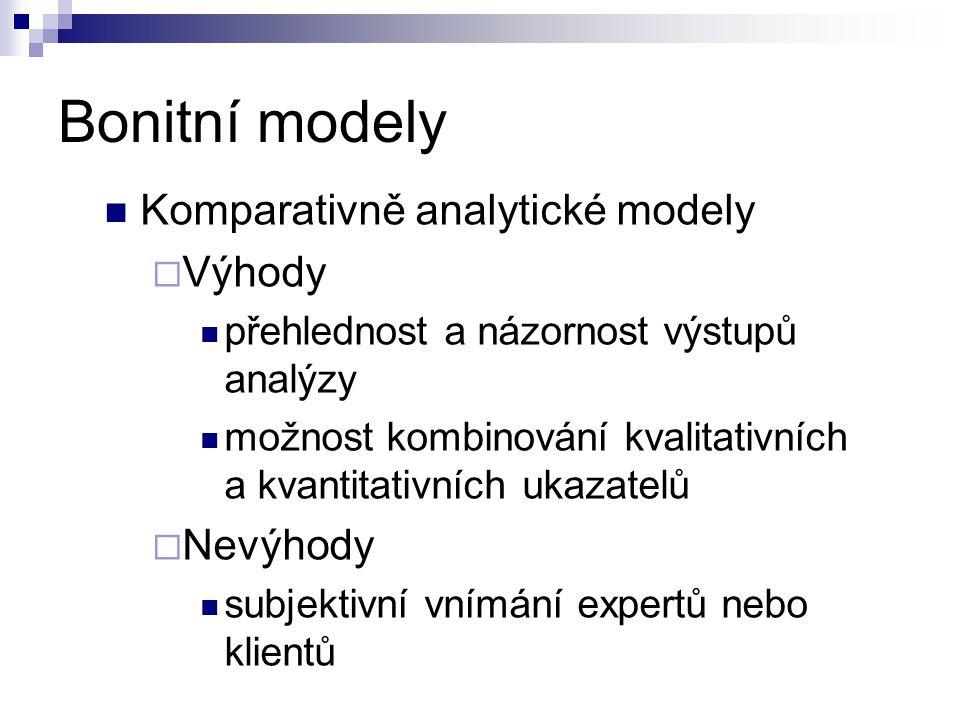 Bonitní modely Komparativně analytické modely Výhody Nevýhody