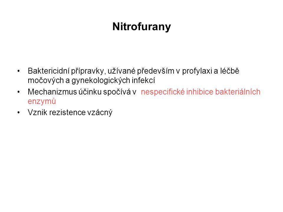 Nitrofurany Baktericidní přípravky, užívané především v profylaxi a léčbě močových a gynekologických infekcí.