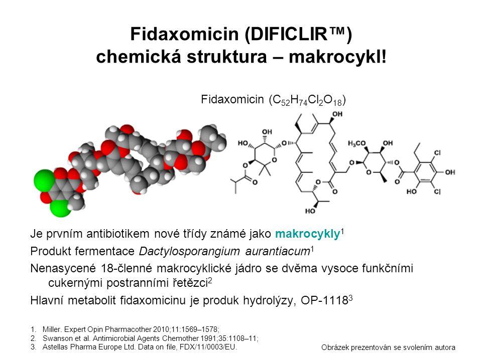 Fidaxomicin (DIFICLIR™) chemická struktura – makrocykl!