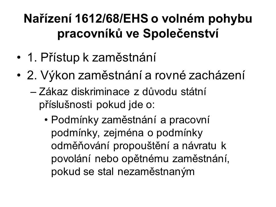 Nařízení 1612/68/EHS o volném pohybu pracovníků ve Společenství