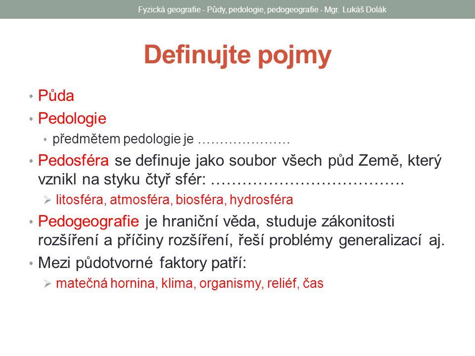 Fyzická geografie - Půdy, pedologie, pedogeografie - Mgr. Lukáš Dolák