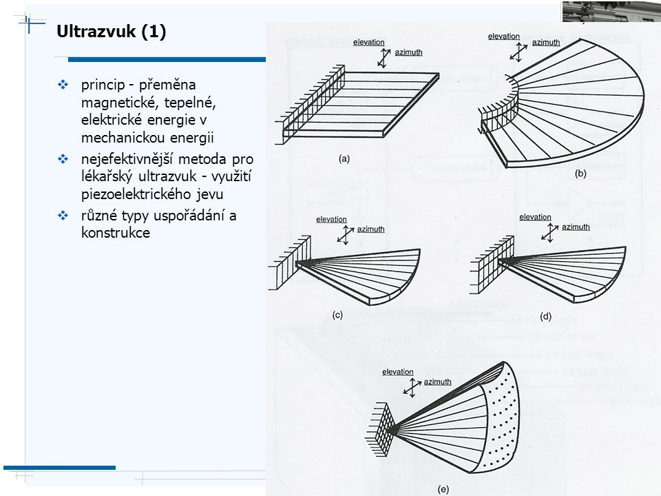 Ultrazvuk (1) princip - přeměna magnetické, tepelné, elektrické energie v mechanickou energii.