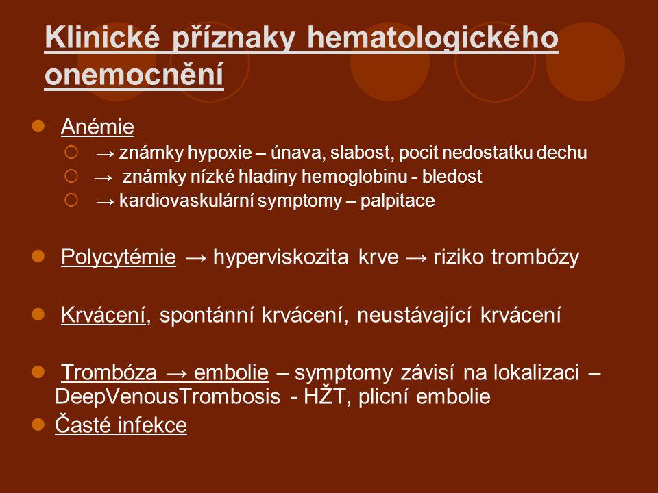 Klinické příznaky hematologického onemocnění