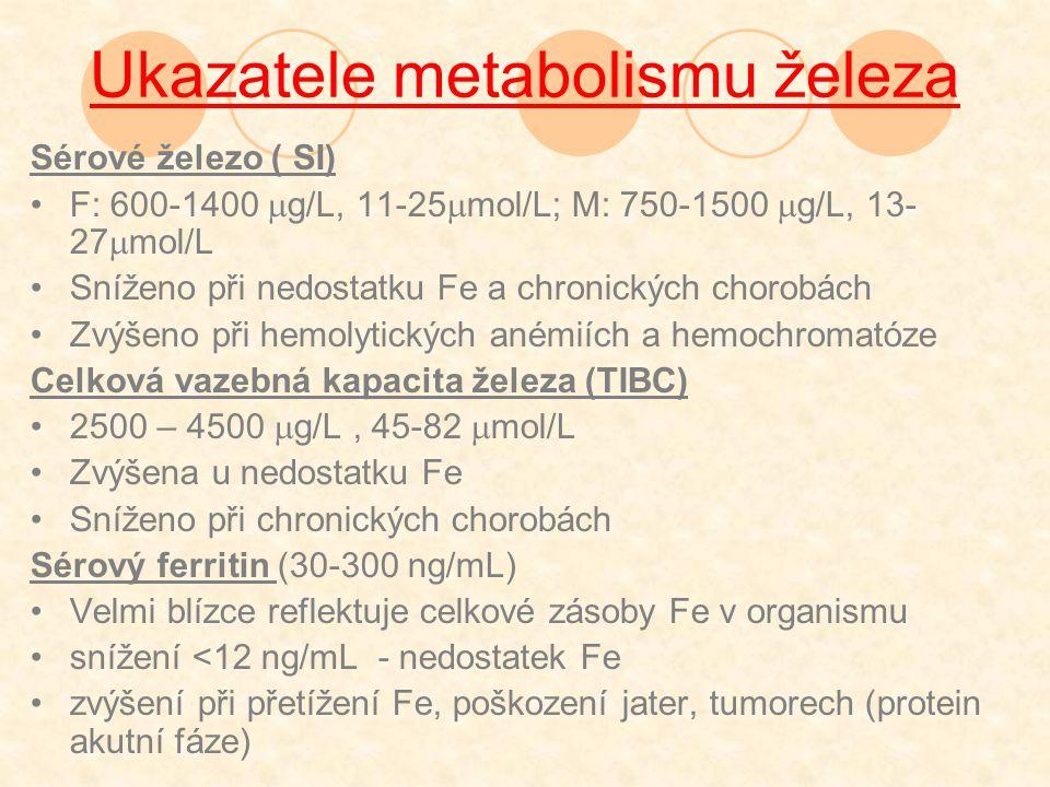 Ukazatele metabolismu železa