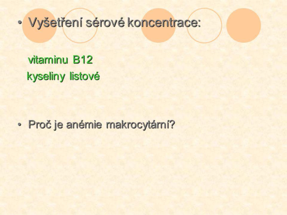 Vyšetření sérové koncentrace: vitaminu B12