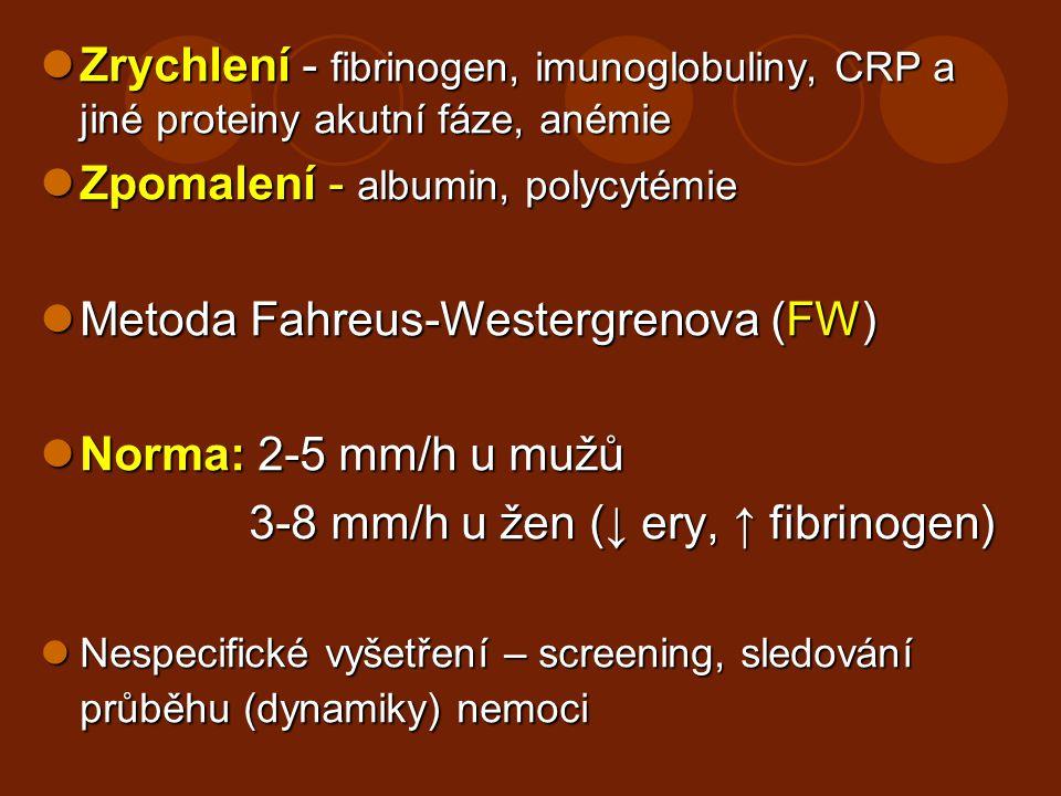 Zpomalení - albumin, polycytémie Metoda Fahreus-Westergrenova (FW)