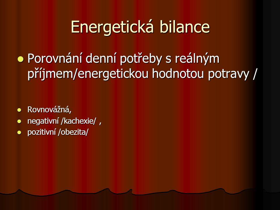 Energetická bilance Porovnání denní potřeby s reálným příjmem/energetickou hodnotou potravy / Rovnovážná,