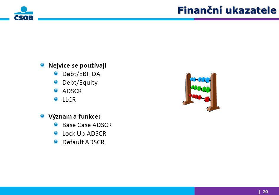 Finanční ukazatele Nejvíce se používají Debt/EBITDA Debt/Equity ADSCR