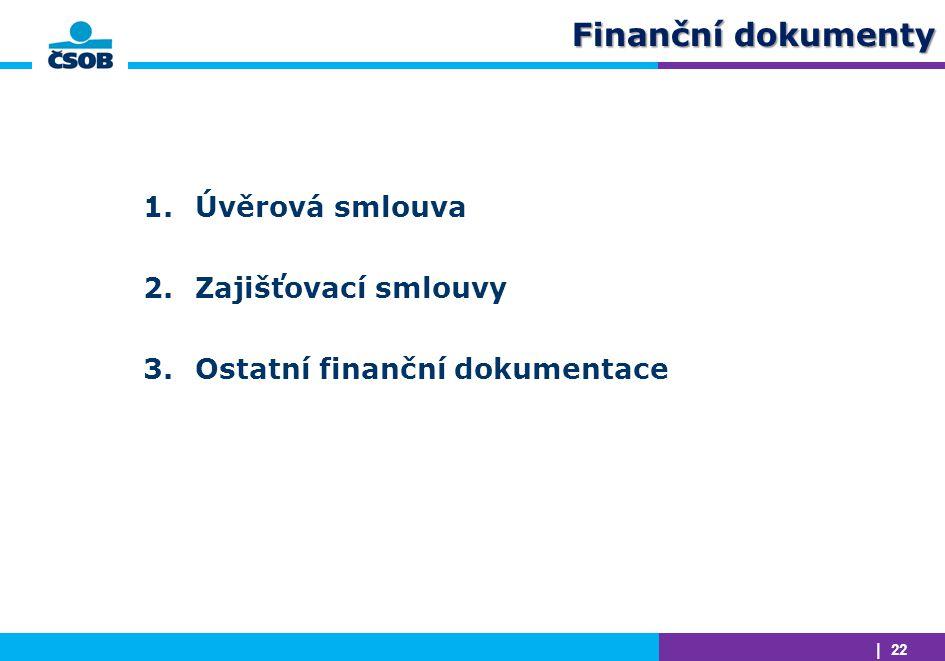 Finanční dokumenty Úvěrová smlouva Zajišťovací smlouvy
