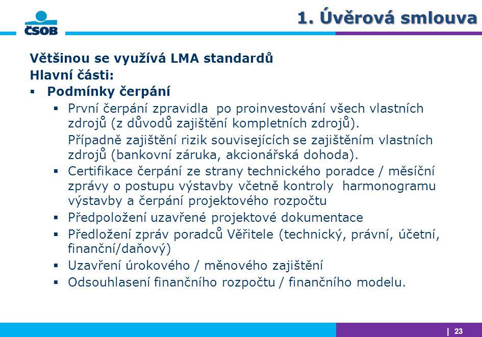 1. Úvěrová smlouva Většinou se využívá LMA standardů Hlavní části: