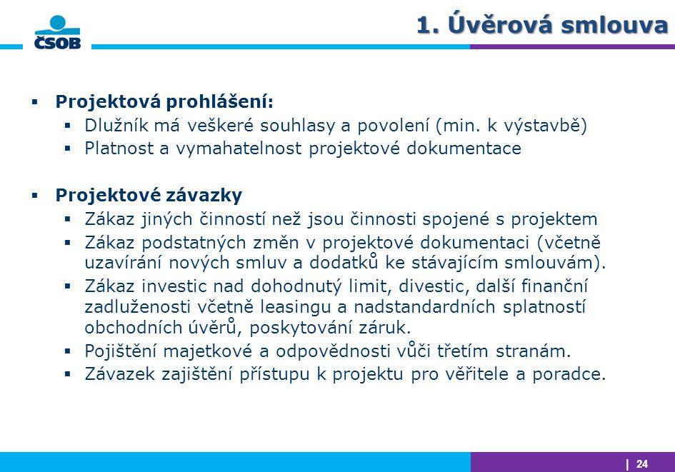 1. Úvěrová smlouva Projektová prohlášení: