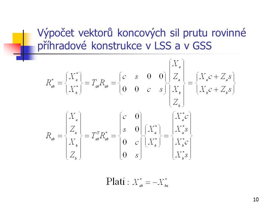 Výpočet vektorů koncových sil prutu rovinné příhradové konstrukce v LSS a v GSS