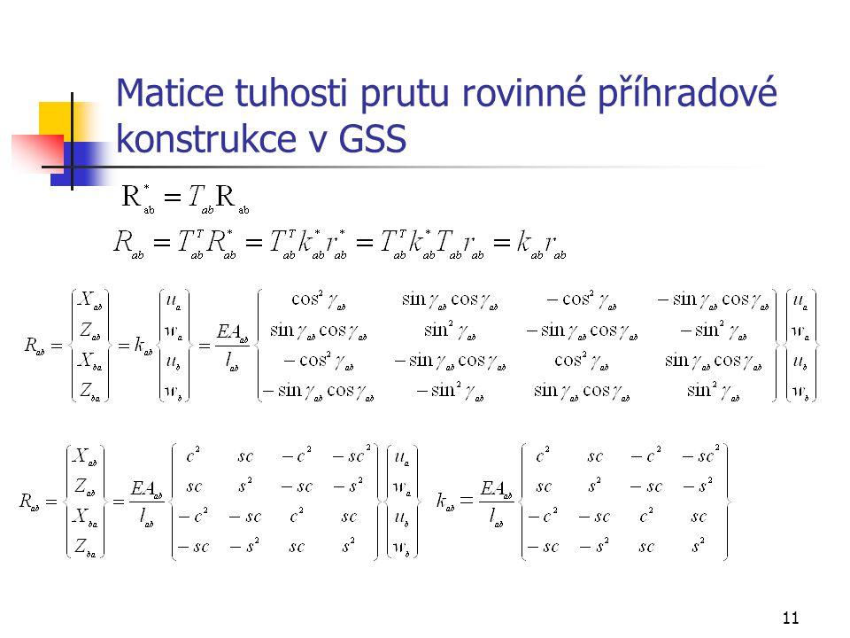 Matice tuhosti prutu rovinné příhradové konstrukce v GSS