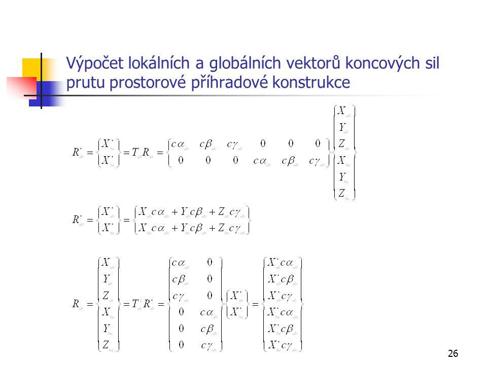 Výpočet lokálních a globálních vektorů koncových sil prutu prostorové příhradové konstrukce