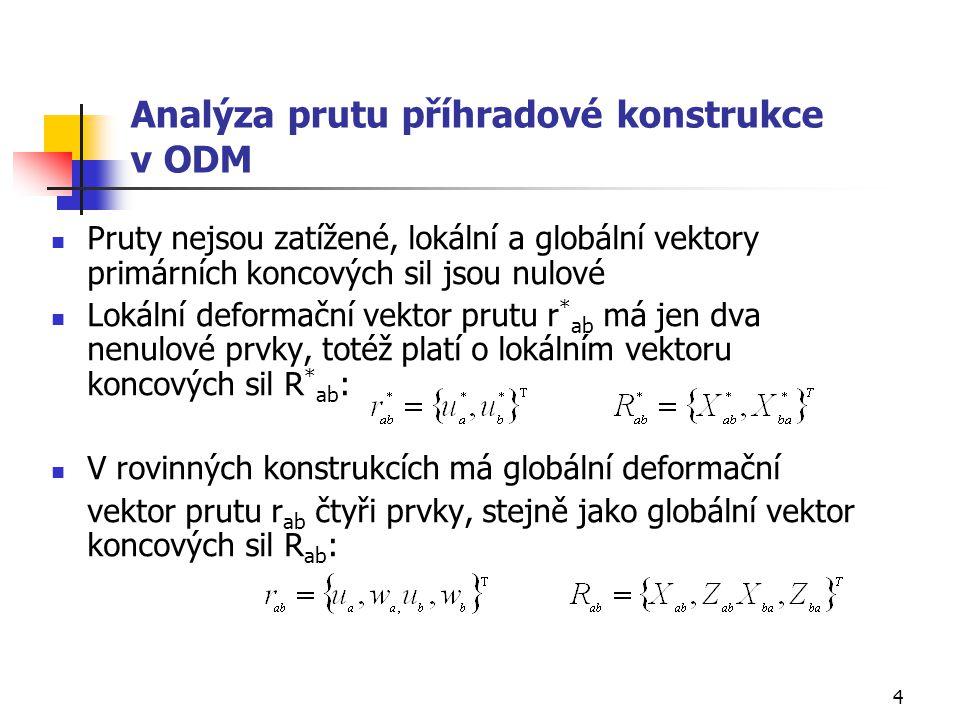 Analýza prutu příhradové konstrukce v ODM