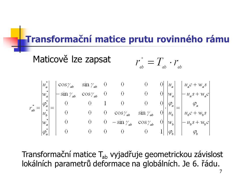 Transformační matice prutu rovinného rámu