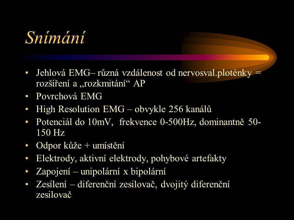 """Snímání Jehlová EMG– různá vzdálenost od nervosval.ploténky = rozšíření a """"rozkmitání AP. Povrchová EMG."""