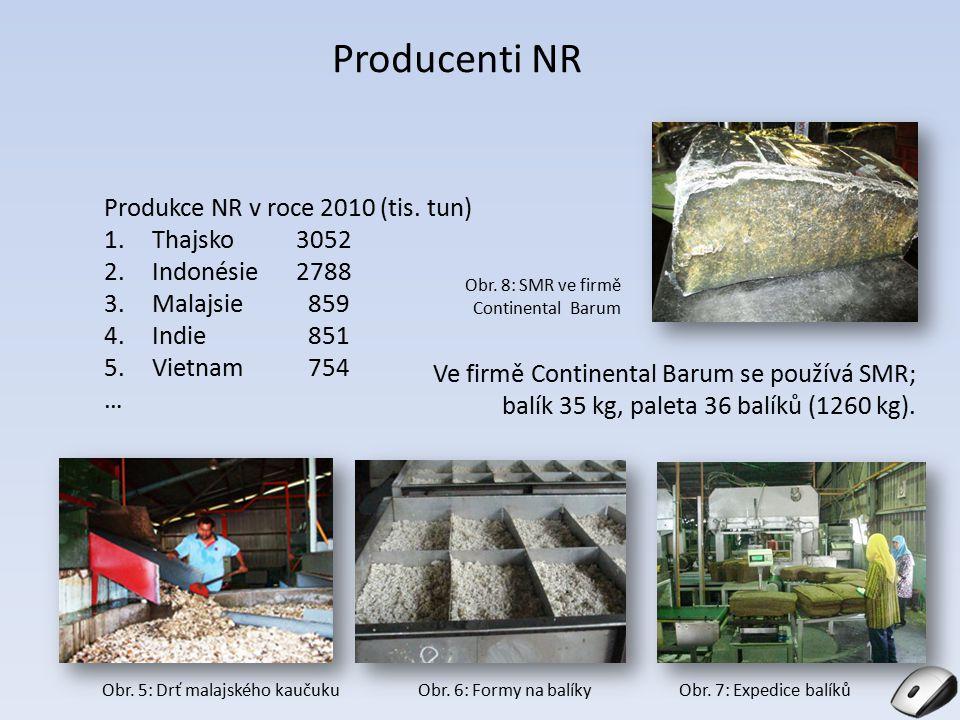 Producenti NR Produkce NR v roce 2010 (tis. tun) Thajsko 3052