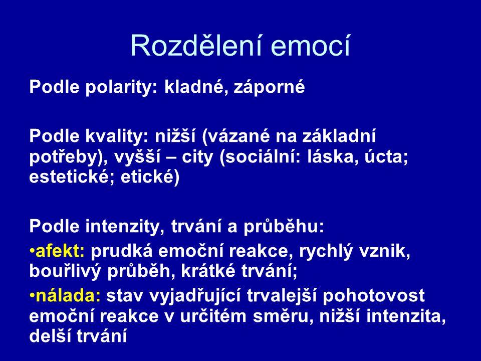Rozdělení emocí Podle polarity: kladné, záporné