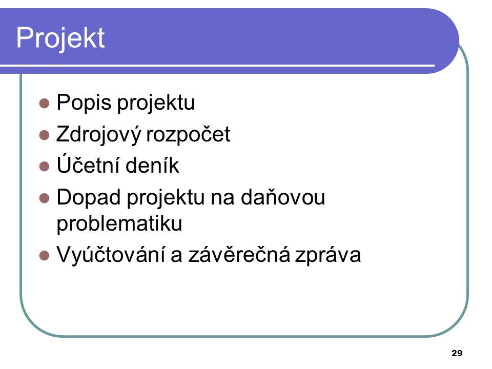 Projekt Popis projektu Zdrojový rozpočet Účetní deník
