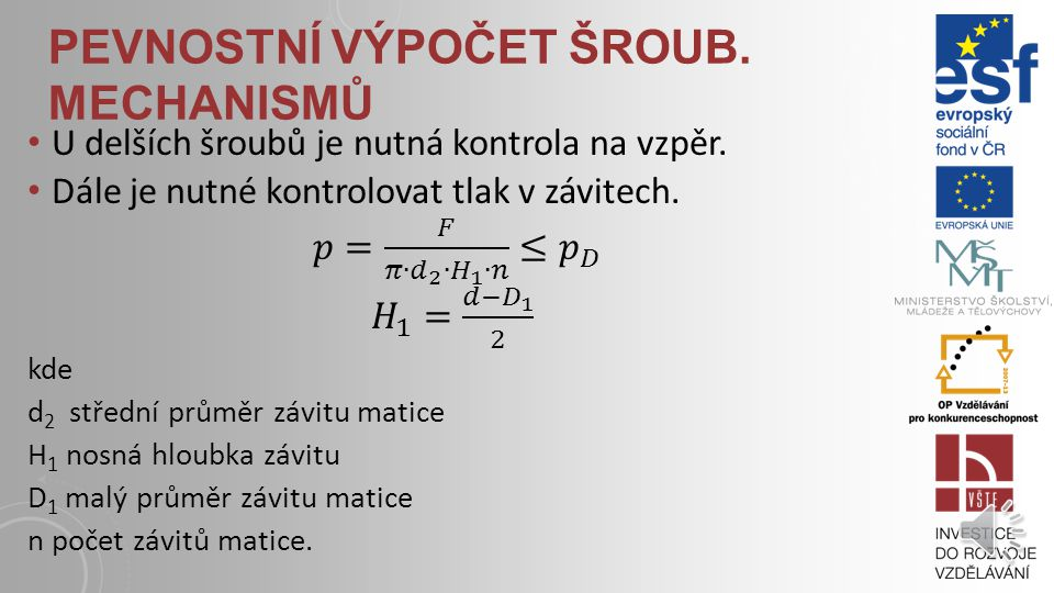 Pevnostní výpočet šroub. mechaniSmů