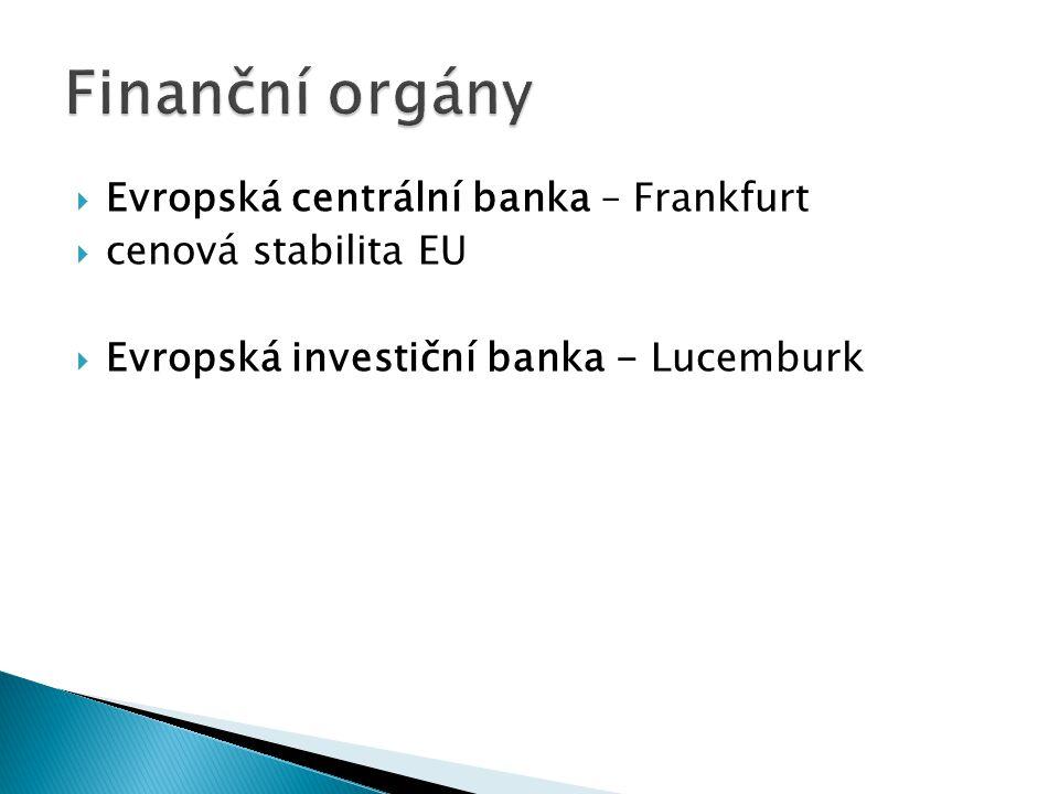 Finanční orgány Evropská centrální banka – Frankfurt