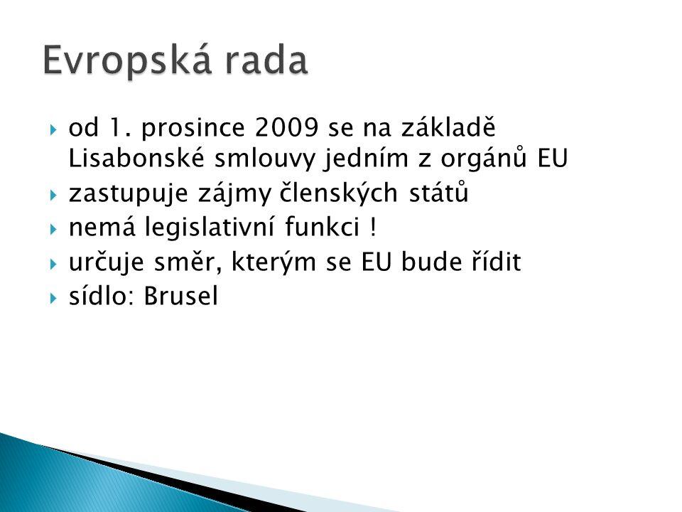 Evropská rada od 1. prosince 2009 se na základě Lisabonské smlouvy jedním z orgánů EU. zastupuje zájmy členských států.