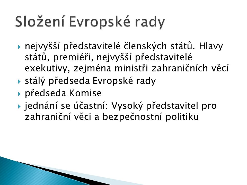 Složení Evropské rady