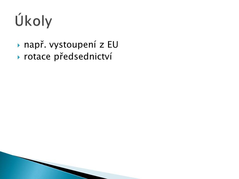Úkoly např. vystoupení z EU rotace předsednictví
