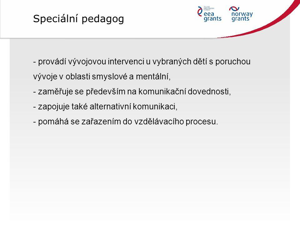 Speciální pedagog provádí vývojovou intervenci u vybraných dětí s poruchou vývoje v oblasti smyslové a mentální,