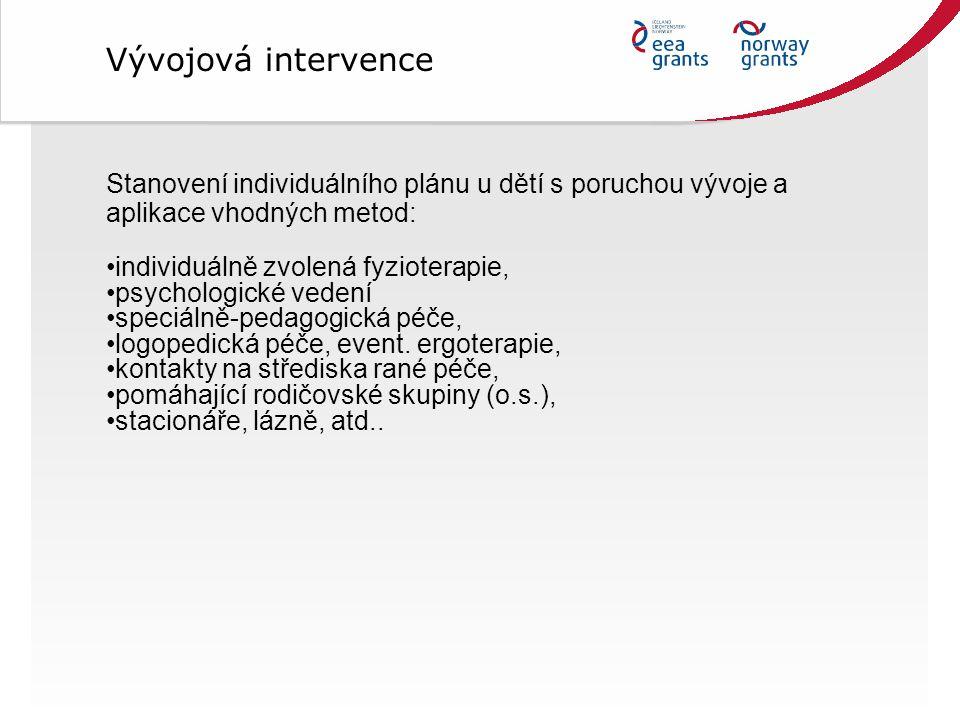 Vývojová intervence Stanovení individuálního plánu u dětí s poruchou vývoje a aplikace vhodných metod: