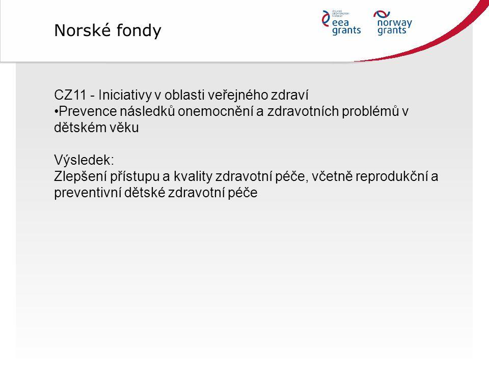 Norské fondy CZ11 - Iniciativy v oblasti veřejného zdraví