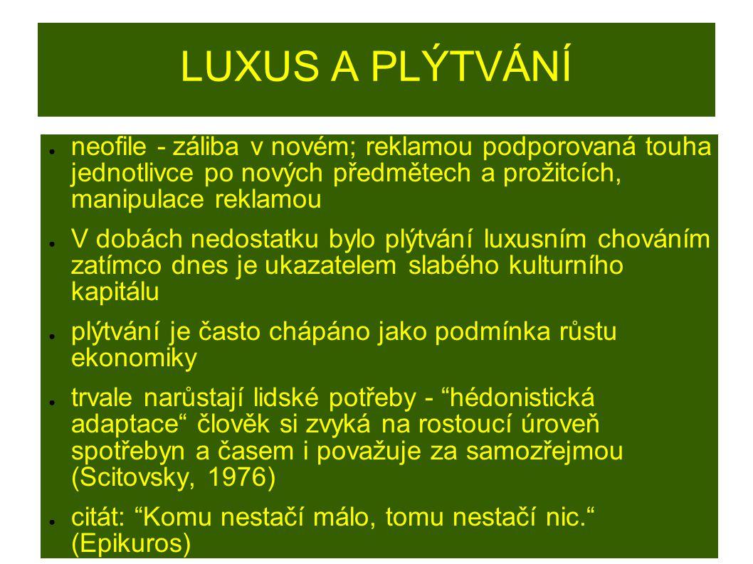 LUXUS A PLÝTVÁNÍ neofile - záliba v novém; reklamou podporovaná touha jednotlivce po nových předmětech a prožitcích, manipulace reklamou.
