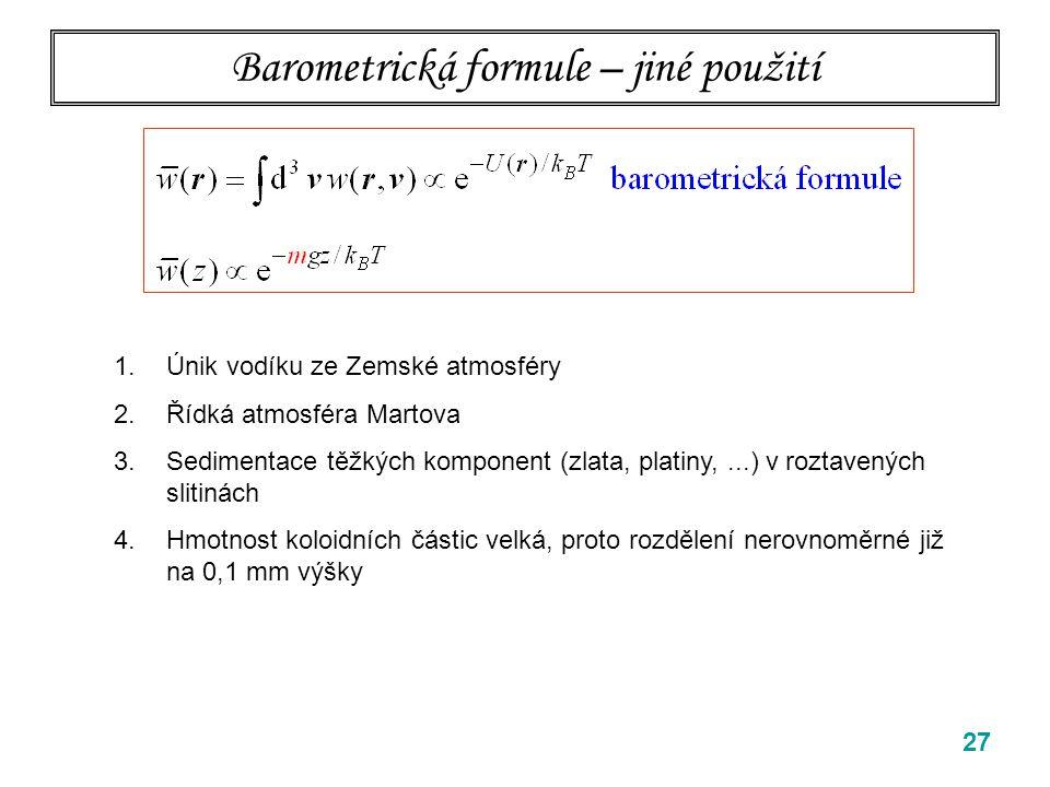 Barometrická formule – jiné použití