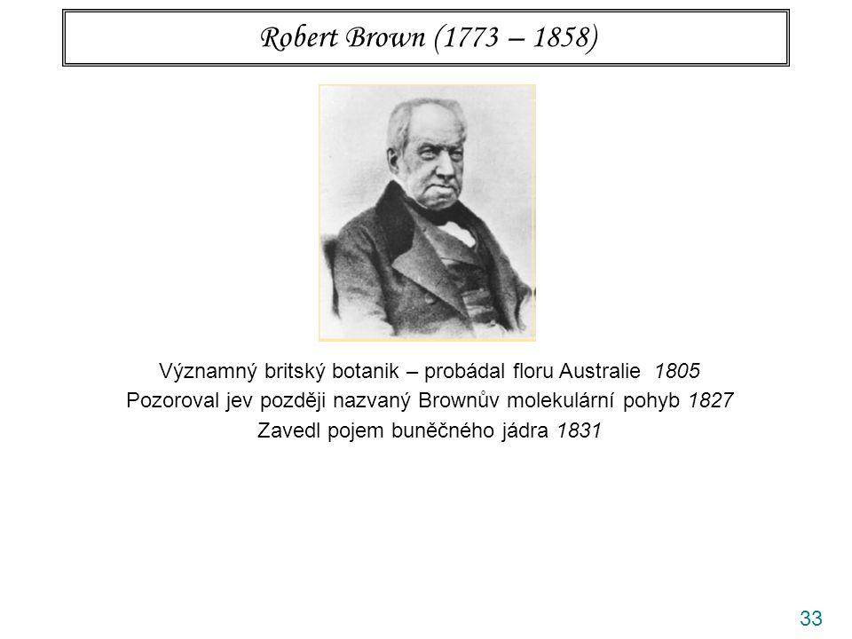 Robert Brown (1773 – 1858) Významný britský botanik – probádal floru Australie 1805. Pozoroval jev později nazvaný Brownův molekulární pohyb 1827.