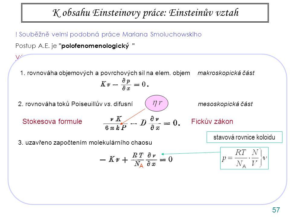 K obsahu Einsteinovy práce: Einsteinův vztah