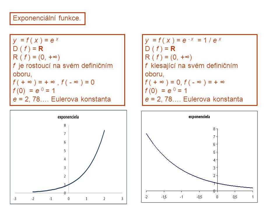Exponenciální funkce. y = f ( x ) = e x. D ( f ) = R. R ( f ) = (0, +∞) f je rostoucí na svém definičním oboru,